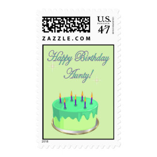Happy Birthday Aunty Birthday cake wishes Stamp