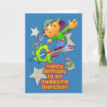 "Happy Birthday Awesome Grandson Skateboarder Boy Card<br><div class=""desc"">Tell your grandson to have an out of this world birthday with this fun design of a cool boy on a futuristic skateboard with aliens and their spacecrafts and stars on a bright blue background.</div>"