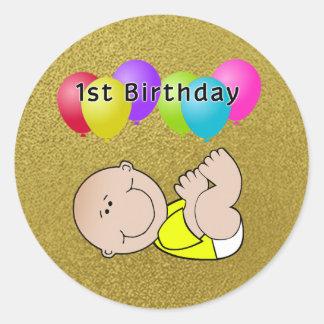 Happy Birthday Baby in Yellow Classic Round Sticker