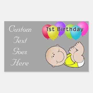 Happy Birthday Baby in Yellow Rectangular Sticker