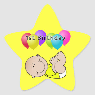 Happy Birthday Baby in Yellow Star Sticker