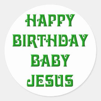 Happy Birthday Baby Jesus Classic Round Sticker