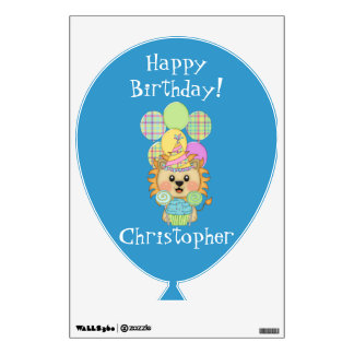 Happy Birthday, Baby Lion/Balloons, Cupcake+Name Wall Stickers