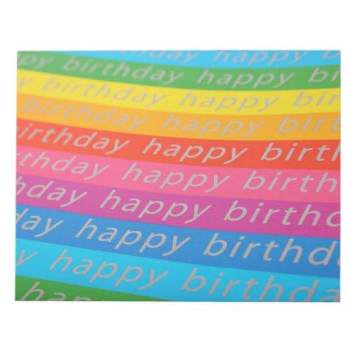 Happy Birthday Background Memo Notepad