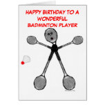 Happy Birthday Badminton Player Greeting Cards