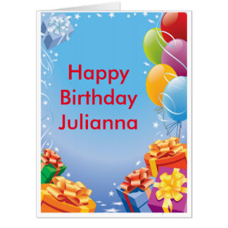 Happy Birthday Ballons and Presents Card