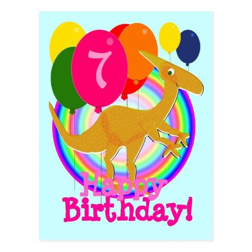 Happy Birthday Balloon 7 Orange Dinosaurs Postcard