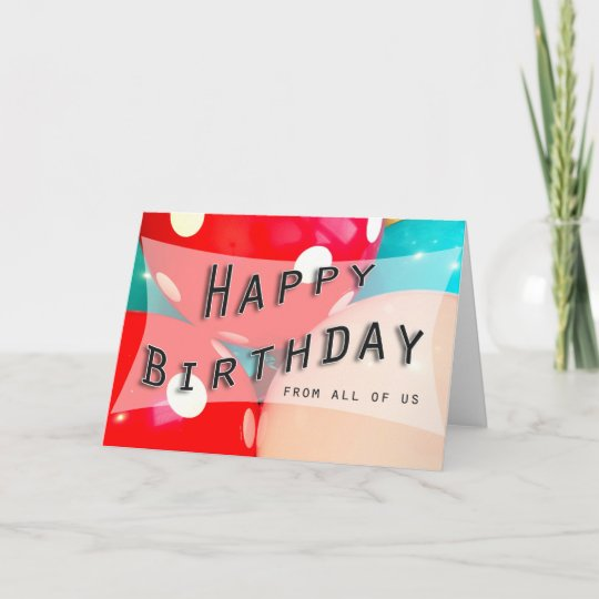 Bright Happy Birthday Cake Custom Text Blue Card Zazzle Com