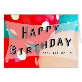 happy birthday balloon blue pink red coworker card