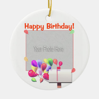 Happy Birthday Balloon Mail (photo frame) Ceramic Ornament