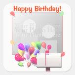 Happy Birthday Balloon Mail (photo frame) Square Sticker