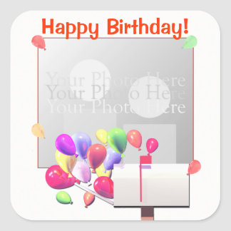 Happy Birthday Balloon Mail (photo frame) Square Sticker