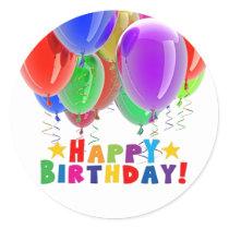 Happy Birthday Balloon Stickers and Envelope Seals