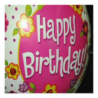 Happy Birthday Balloon w/ Flowers, Balloon Design Card