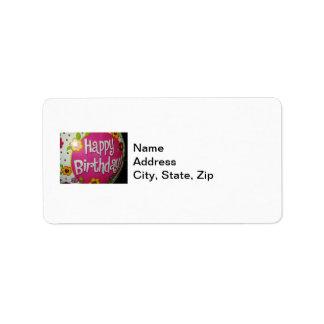 Happy Birthday Balloon w/ Flowers, Balloon Design Label