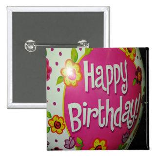 Happy Birthday Balloon w/ Flowers, Balloon Design Pinback Button