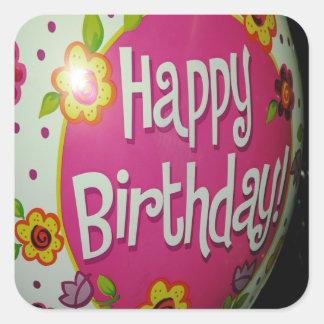 Happy Birthday Balloon w/ Flowers, Balloon Design Square Sticker