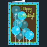 """Happy Birthday Balloon Wishes! Card<br><div class=""""desc"""">What better than a bunch of balloons to say Happy Birthday? This trendy blue and brown Happy Birthday card is cute and appropriate for any age.</div>"""
