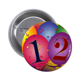 Happy Birthday balloons - 12th birthday Button