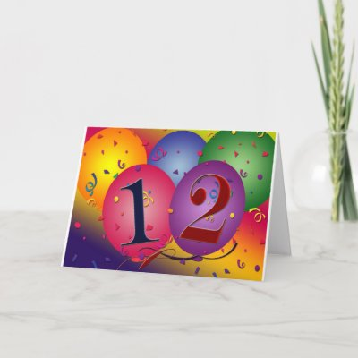 Happy Birthday balloons - 12th birthday Greeting Cards by perfectpostage