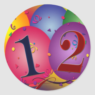 Happy Birthday balloons - 12th birthday Classic Round Sticker