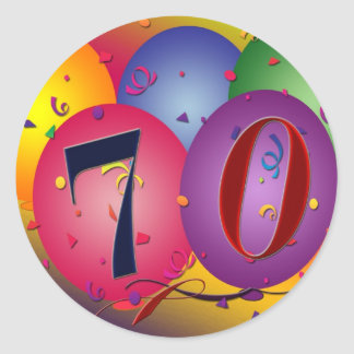 Happy Birthday balloons - 70th birthday Classic Round Sticker