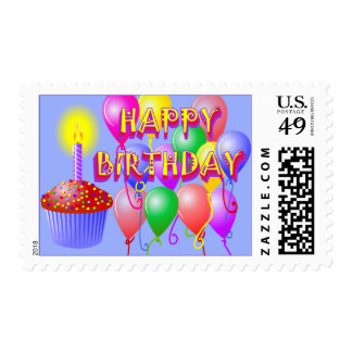 Happy Birthday Balloons and Cupcake Stamp