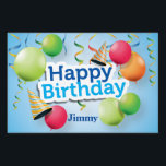 "Happy Birthday Balloons and Hats Lawn Sign<br><div class=""desc"">This yard sign features a fun birthday theme,  with colorful balloons and party hats,  on a blue background,  and the words Happy Birthday. The name text can be customized or removed,  as desired. The same design is also on the back of the sign.</div>"