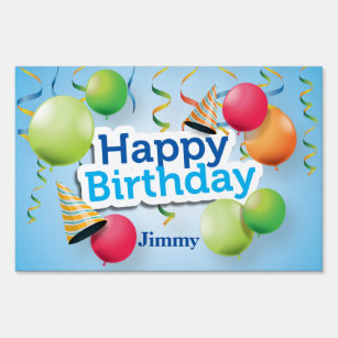 Happy Birthday Balloons And Hats Lawn Sign