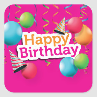Happy Birthday Balloons and Hats Square Sticker