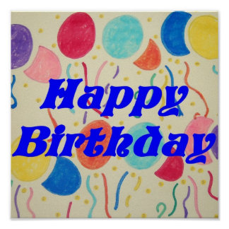 Happy Birthday Balloons And Streamers Print