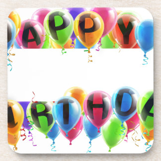 Happy Birthday Balloons Banner Drink Coaster