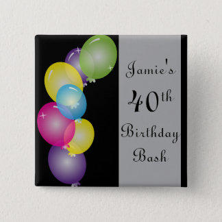 Happy Birthday Balloons Bash | DIY Text Pinback Button