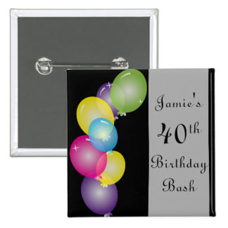 Happy Birthday Balloons Bash | DIY Text Pinback Button