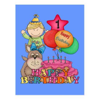 Happy Birthday Balloons Boy 1 Year Old Postcard
