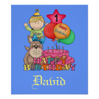 Happy Birthday Balloons Boy 1 Year Old Poster