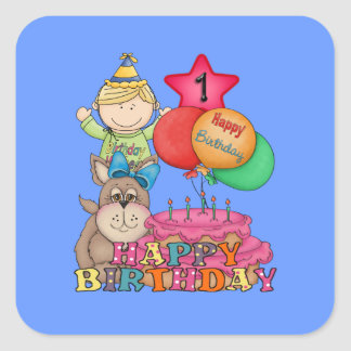 Happy Birthday Balloons Boy 1 Year Old Square Sticker