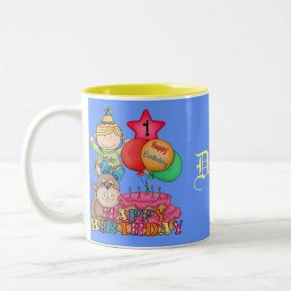 Happy Birthday Balloons Boy 1 Year Old Two-Tone Coffee Mug