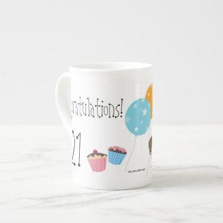 Happy Birthday/Balloons+Cake-Customize Name+Year Tea Cup
