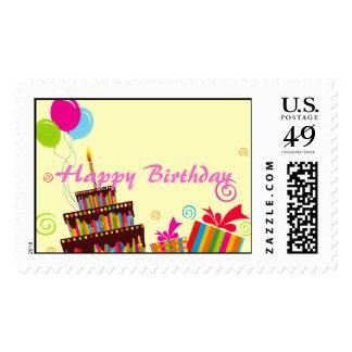 Happy Birthday Balloons Cake Postage