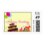 Happy Birthday Balloons Cake Postage