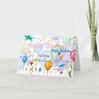 Happy Birthday - Balloons - Card card