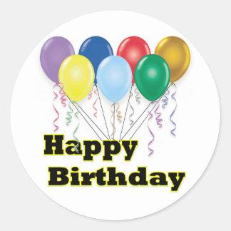 Happy Birthday Balloons D3 Classic Round Sticker