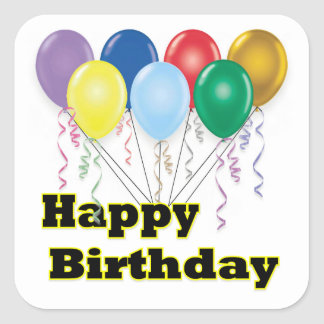 Happy Birthday Balloons D3 Square Sticker