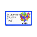Happy Birthday Balloons for Boy (Blue Trim) Custom Address Label