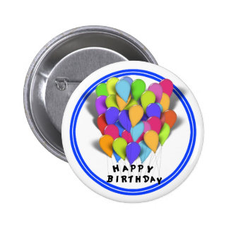 Happy Birthday Balloons for Boy (Blue Trim) Pinback Button
