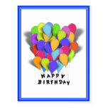 Happy Birthday Balloons for Boy (Blue Trim) Post Card