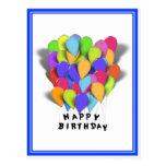 Happy Birthday Balloons for Boy (Blue Trim) Post Card