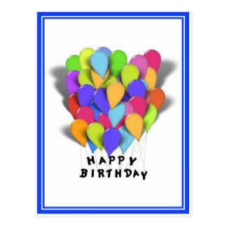 Happy Birthday Balloons for Boy (Blue Trim) Postcard