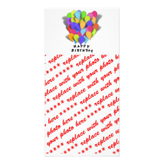 Happy Birthday Balloons for Girl (Pink Border) Card
